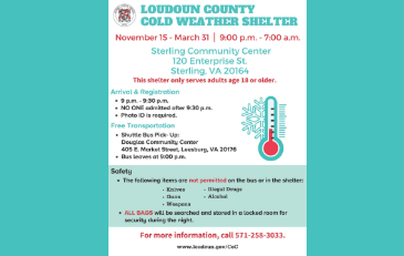 Image of informational flier for the Loudoun County Cold Weather Shelter.