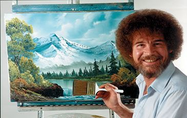 Image of Bob Ross and his painting