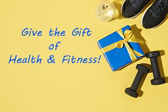 image of gift box and fitness equipment