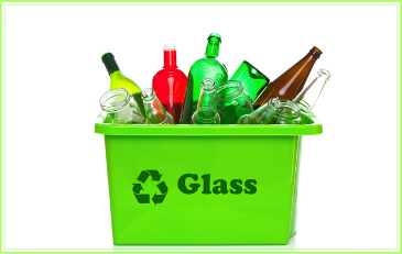 Image of glass containers in a recycling bin