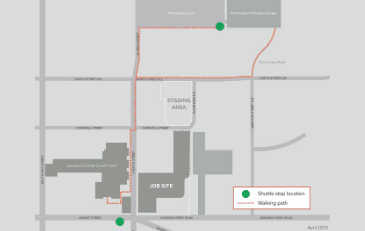 Map of parking for Loudoun County Courthouse, shuttle route and pedestrian path