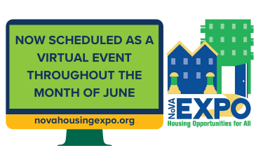 Image of Northern Virginia Housing Expo logo with computer as virtual event