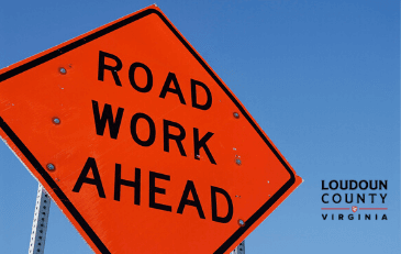 Image of Road Work Ahead Sign with Loudoun County Wordmark