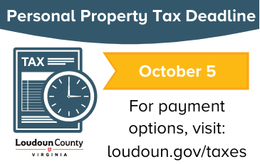 Image of graphic with personal property tax deadline of october 5
