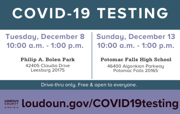 Image of graphic about free COVID-19 testing in Loudoun Dec. 8 and 13